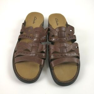 Clarks 10M Leather Brown Sandals